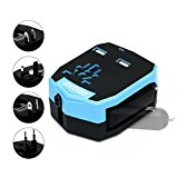OXOQO International Worldwide Travel Charger Plug Power Wall Adapter (US UK EU AU) with 2 2.5A USB Ports and Car Charger, Blue