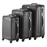 VonHaus 3pc Hard Shell ABS Trolley Suitcase Luggage Set with 4 Rotating Wheels & Combination Lock - Black - FREE 2 Year Warranty