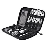 BAGSMART Travel Cable Organizer Electronic Accessories Holder IT Bags USB Drive Shuttle Case with Cable Tie Black
