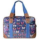 Miss Lulu Butterfly Oilcloth Travel Weekend Away Bag Navy Blue L1106B NY