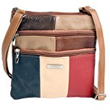 Lorenz Ladies Small 2 Compartment Leather Across Body Bag - Multicoloured