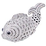 Santimon Women Clutch Luxury Bling Rhinestone Fish Evening Clutch Bags with Removable Strap Crystal Purse Silver