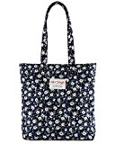 [HotStyle Fashion Printed] Floral Womens Shopper Tote Handbag, NavyBlue