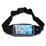 ULTRICS® Running Belt Waterproof Runner Waist Pack Bag for iPhone 6S/6S Plus Transparent Touch Screen Window with Accessories Gear & Headphone Pouch for Running Walking Hiking Camping and More