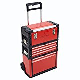 NEW TRUESHOPPING® 3-IN-1 TROLLEY TOOL BOX SET WITH 4 DRAWS STORAGE CHEST - WITH BALL BEARING SLIDING DRAWS
