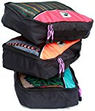 Value Set of 3 Premium Quality Packing Cubes With Extra Strong Rhino Tough Zips - Medium Sized, Deep, Colour-Coded Travel Cubes Plus Free Waterproof Laundry or Shoe Bag