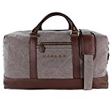 Weekend Bag, Haular Overnight Travel Carry On Duffel Tote Bag [Brass Finishing] Canvas - Grey