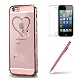 iPhone SE/5/5s Case Silicone [with Tempered Screen Protector], Yoowei® Crystal Clear Diamonds Bling Glitter Soft Flexible TPU Silicone Cover Electroplate Plating Frame Bumper for iPhone SE/5/5s(Love Heart)