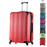 WOLTU RK4208rt-M Hard Shell Lightweight Trolley Bag Hand Luggage Suitcase Red with 2 Carrying Handles and Four 360 Degree Rotatable Silent Wheels in 20