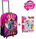 BUNDLE: Kids Trolley Cabin Bag Suitcase with Wheels and Telescopic Handle - Ideal for short breaks, holidays, sleepovers and school trips PLUS MLP Sequin Art Kit (My Little Pony)