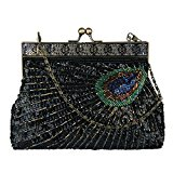 Ecosusi Antique Beaded Sequin Turquoise Sunburst Clutch Evening Handbag Purse (black)