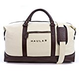 Weekend Bag, Haular Overnight Travel Carry On Duffel Tote Bag [Brass Finishing] Canvas - Beige