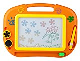 Buyus [Mini Size] Colour Magnetic Drawing Board for Kids/Children/Toddlers/Babies/Adults/Girls/Boys/Travel with 2 Shapes Stamps and 1 Pen - Retail Box - Also Named Magic Magical Doodle/Scribble/Writing/Draft/Sketcher Tablet Pad (Orange)