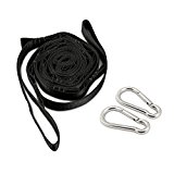 Hammock Tree Straps, Rusee Tree Swings Hammock Accessories Suspension Hanging Strap Kit Heavy Duty Hook, Safer Lock Snap Carabiner Hook + Carry Pouch for Outdoor Camping, Hiking, Travel, Backpacking
