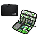 niceEshop(TM) Portable Travel Cable Organizer Case Bag Phone Charger Case for Electronic Computer Cell Phone IPad Accessories USB Cables Power Banks Hard Disk, Black