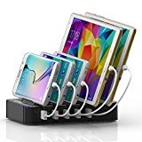 Charger Station Holder,Universal Multi-Port Desktop Charging Multiple Devices USB 5-Port Fast Charger Docking,Portable Travel USB Charger Silicone Protective Built-in Insert Slots for iPhone iPad Smartphones,Tablets and Laptops+ 2x iPhone Cables+ 3x Micro USB Cables(Black)