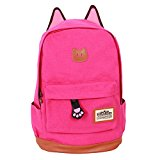 Fashion Plaza 2014 super sweet cat ear design middle school style ladies lady girls backpack for school camping trip laptop multifunction bag of canvas several colors C5004 (rose red)