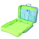 Zicac Kids Multi Function Travel Play Tray Kit Plane Train Car Seat Toy Organizer Rucksack Backpack Bag with Extendable Size Wipe Clean Inside Surface (Blue)