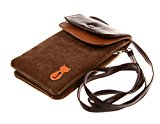 Bronze Times2-Layers Cat Printing Flannel Cellphone Bag/Pouch with shoulder Strap Brown