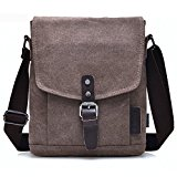 liangdongshop Men's Business Style Leisure Casual Canvas Leather Multi-function Small Light Weight Single Shoulder Bag Messenger Bag School Bag Travel Bag (Coffee)