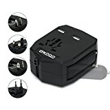 OXOQO International Worldwide Travel Charger Plug Power Wall Adapter (US UK EU AU) with 2 2.5A USB Ports and Car Charger, Black