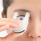 Mini Eyelash Curler -- Portable Resin Rubber Eye Lash Curls With Built-in Spring And Silicone Curling Refill Pads for Travel And Vacation (White)