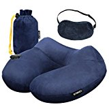 Enkeeo Inflatable Travel Neck Pillow with Comfortable Cover Eye Mask and Carrying Pouch for Sleeping Travelling Plane Car
