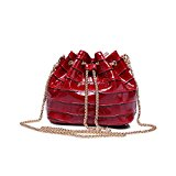 Sheli Girls Mini Small Conterfeit Red Leather PU Croc Embossed Golden Chain Crossbody Bucket Tote Handbag