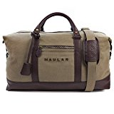 Weekend Bag, Haular Overnight Travel Carry On Duffel Tote Bag [Brass Finishing] Canvas - Khaki