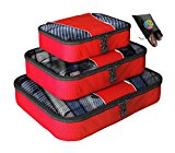 Packing Cubes - 4 pc Value Set Luggage Organizer + Bonus Shoe Bag Included - Lifetime Guarantee - By Bingonia Travel Accessories - Red