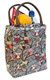 Ava Owl Insulated Lunch Tote Bag, Grey