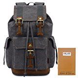 KAUKKO Outdoor Travel Rucksack Canvas Backpacks Fits up to 15-17 Inch Laptop Grey