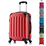 WOLTU RK4204rt-M Hard Shell Lightweight Trolley Bag Hand Luggage Suitcase Red with 2 Carrying Handles and Four 360 Degree Rotatable Silent Wheels in 20
