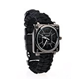 Outdoor Survival Multi-function Watches With Survival Compass Watchband Bracelet + Survial Kit Bracelet+ Whistle + Fire Starter for Hiking Rock Climbing Camping First Aid Kit Adventures (Black)