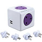 Allocacoc PowerCube 4 Outlets Dual USB Ports with 4 Universal Travel Plugs Wall Adapter UK Socket Power Strip with Resettable Fuse(Purple)