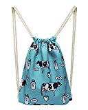 Moollyfox Women Casual Cute Cow Printed Canvas Travel Drawstring Backpacks As Picture