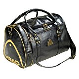 FunkyTravelbags Black and Gold Retro St Moritz Ladies Gents Head Sports Gym Travel Bag