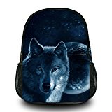 Wolf Unisex Canvas Casual Backpack Rucksack Satchel Travel Hiking School Bag