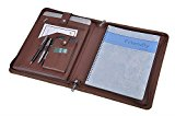 iCarryAlls Leather Organizer Laptop Folio Case with Notepad Holder for 13 inch Surface Book / MacBook Air, Brown