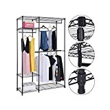 Wardrobe Clothes Rack Double storage W/Hanging Rail Wire Metal Carbon Steel.