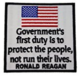Ronald Reagan Government's First Duty Protect People Embroidered Shoulder Patch D2 by Sujak Military Items