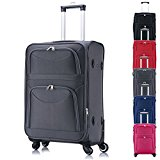 WOLTU RK4214gr-L Soft Shell Travel Trolley Bag Hand Luggage Suitcase with 4 Silent Wheel Spinner(Universal Wheel)- Grey Colour, 20 inch Size