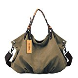Women's Canvas Tote Bag, WITERY Casual Vintage Canvas Tote Bags Top Handle Bags Shoulder Bag Handbags Shopping Bag for Women Khaki