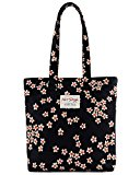 [HotStyle Fashion Printed] Cute Floral Travel Tote School Bookbag for Girls, Black