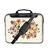 TaylorHe 15.6 inch 15 inch 16 inch Hard Wearing Nylon Colourful Laptop Shoulder Bag with Patterns, Side Pockets Handles and Detachable Strap Polka Dots Skull Floral